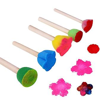 5pcs/lot Wooden Diy Painting Sponge Brush - Educational Doodle Drawing Graffiti Toys(multicolor)