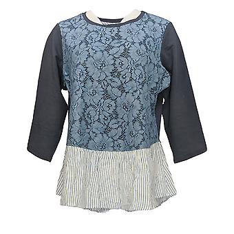 LOGO by Lori Goldstein Women's Top Lace Front & Woven Bottom Blue A344740