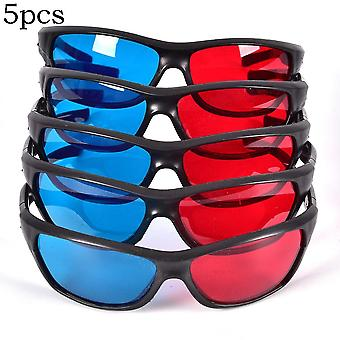 5pcs/set Frame 3d Glasses For Dimensional Anaglyph Movie Game Dvd Black