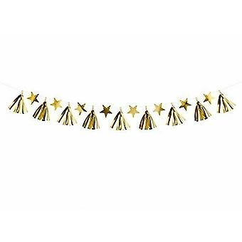 Gold Tassel and Star Garland - Christmas Wedding Decoration 2m