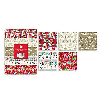Giftmaker 10 Sheets Christmas Gift Wrap Xmas Wrapping Paper 5 Designs 50 x 50cm