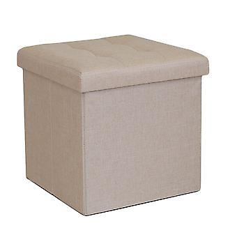 Foldable Fabric Ottoman, Cream 38cm