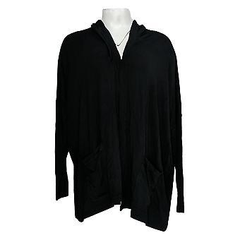 Isaac Mizrahi Live! Women's Maglione Aperto Frnt Hooded Cardigan Nero A379695