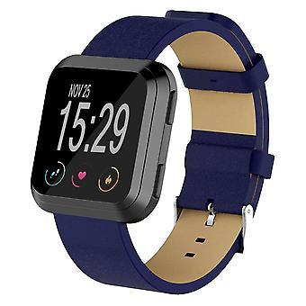 Fitbit Versa 2/Versa/ Lite Genuine Nahkanauha Vaihto ranneke Hihna[Sininen]