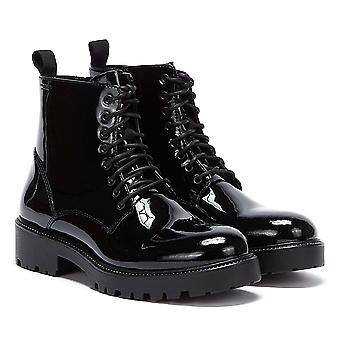Vagabond Kenova Patente Lace Up Womens Botas Pretas