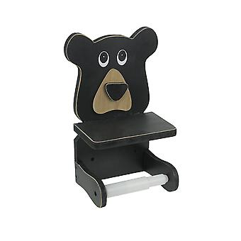 Whimsical Hand Painted Black Bear Wooden Toilet Paper Roll Holder With Phone Shelf