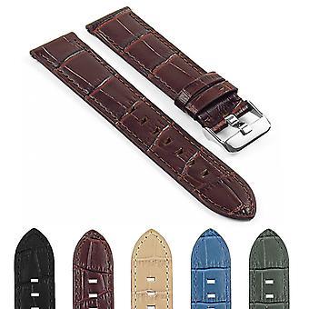 Strapsco dassari swl3 crocodile embossed italian leather quick release strap