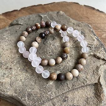 Rose Quartz And Wood Opal Bracelet