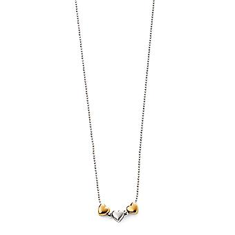 D for Diamond Childrens 925 Sterling Silver & Gold Plating 3 Heart Bead Necklace of Length 35cm + 5cm