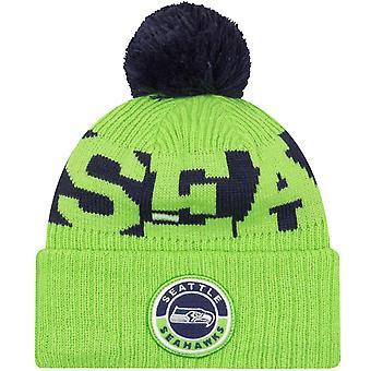 Nova era Seattle Seahawks NFL Sideline Sideline Fleece Beanie Bobble Hat - Verde