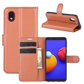 עבור Samsung Galaxy A01 Core / M01 Core Litchi מרקם אופקי להעיף מגן מגן עם מחזיק && &חריצי כרטיסים ארנק(חום)