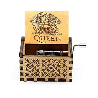 Wooden Hand Crank Queen Music Box Bohemian Rhapsody Theme  Digimon Beast And