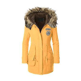 Naisten tekoturkis leikata huppu pitkä talvi parka takki