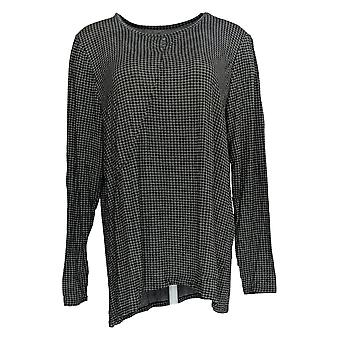 Cuddl Duds Women's Top Stretch Keyhole Front Long Sleeve Gray A381690