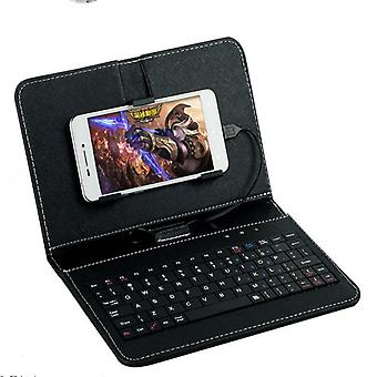 Portable Pu Leather Wired Keyboard For Protective Mobile Phone, Case