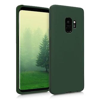 HATOLY Samsung Galaxy S9 Silicone Case - Soft Matte Case Liquid Cover Vert foncé