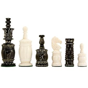 Barley Corn Carved Camel Bone Chess Pieces