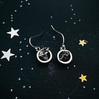 Small Round Raw Meteorite Dangle Or Stud Earrings