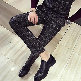 Men's Plaid British Slim Fit Dress Formal Pants