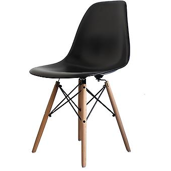 Charles Eames Style Black Plastic Retro Side Chair - Natural Wood Legs