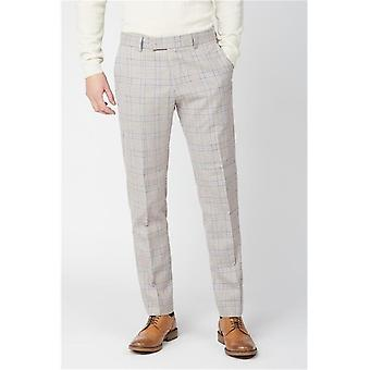 Cream Tweed With Taupe Overcheck Suit Trousers