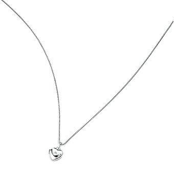 D for Diamond 925 Sterling Silver Children's Diamond Heart Locket Pendant Necklace of Length 35cm