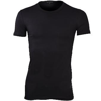 Ermenegildo Zegna elástico de algodón cuello redondo t-shirt, negro