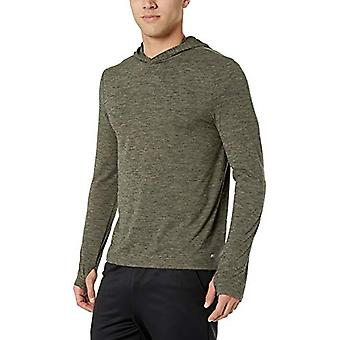 Essentials Men's Tech Stretch Long-Sleeve Performance Pullover Hoodie, Navy Space dye, Medium