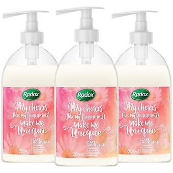 Radox Hand wash, Care + Moisturise, 3 Packs of 500ml