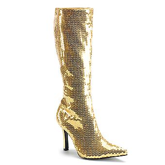 Funtasma Apparel & Accessories > Costumes & Accessories > Costume Boots > Womens LUST-2001SQ Gold Sequins