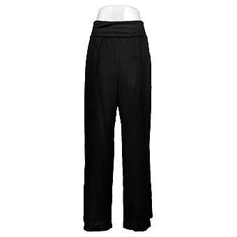 リサ リンナ コレクション 女性&アポス パンツ 折りたたみウエスト ワイドレッグ ブラック A308832