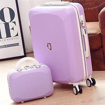 女性は化粧品バッグ付きのスーツケース、ハンドバッグ付きローリング荷物セット、