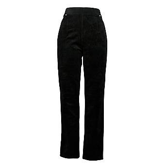 Quacker Factory Women's Knit Corduroy Pull-On Slim Leg Pants Black A279070
