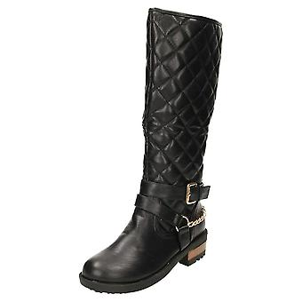 Koi Footwear Quilted Biker Boots Knee High Flat Gothic Punk
