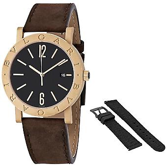 Bvlgari Solotempo Automatic Black Dial Men's Bronze Watch 102977