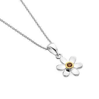 Sterling Silver Pendant Necklace - Origins Daisy + Citrine + Gold Plated