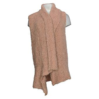 G.I.L.I. Women's Sweater Textured Vest W/ Long Collar Pink A385404