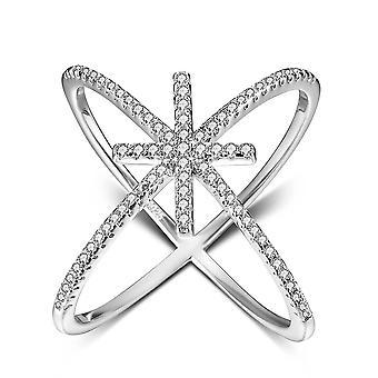925 Anello d'argento sterling zirconia fidanzamento matrimonio