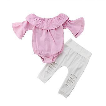Baby-Kleidung-Set, Off Shoulder Strampler Jeans Hose