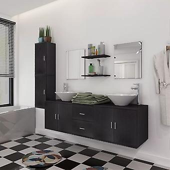 vidaXL 11-pcs. Bathroom furniture set with sink and faucet Black