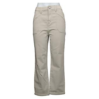 LOGO By Lori Goldstein Women's Pants Boyfriend W/ Roll Cuff Beige A301236