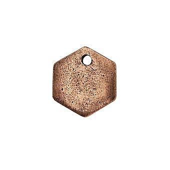Vente finale - Flat Tag Pendentif, Mini Hexagon 12mm, Cuivre Antiqued, 1 Pièce, par Nunn Design