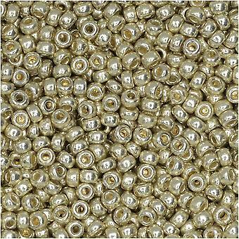Miyuki runda fröpärlor, 11/0, 8,5 Gram Rör, #4201 Duracoat Galvanized Silver (pläterad)