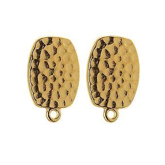 Clip On Ohrringe, gehämmert mit Ring 20mm, 1 Paar, 22K vergoldetes Zinn, von TierraCast