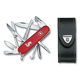 Victorinox FISHERMAN Swiss army knife - angler 18 function - black leather pouch