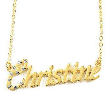 KL كريستين - قلادة مع اسم شخصي، مطلي في 18 قيراط الذهب، سلسلة قابل للتعديل 16-19 سم، في صندوق هدية