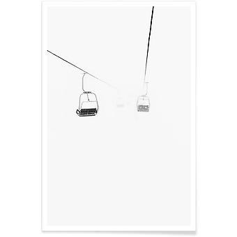 JUNIQE Stampa - Nebbiosa - Poster Sci & Snowboard in Bianco