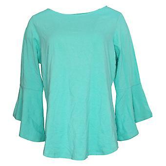 Belle Af Kim Grus Kvinders TripleLuxe Bell Sleeve Top Green A301577