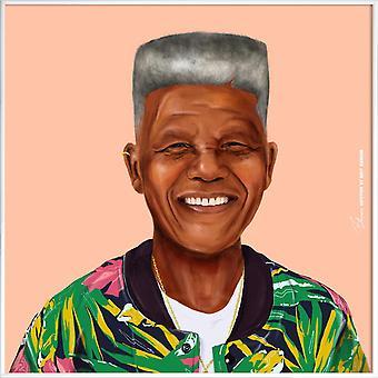 JUNIQE Print -  Mandela - Politische Figuren Poster in Bunt & Rosa