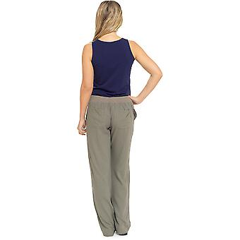 Womens Solid Colour Ribbed Waist Linen Trouser Bottoms Pants Khaki 14